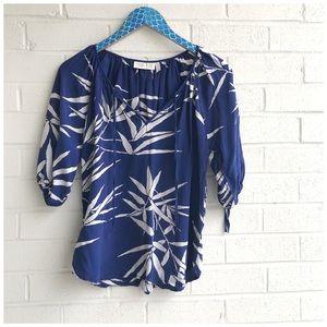 Yumi Kim Blue White Leaf Print Silk Peasant Blouse
